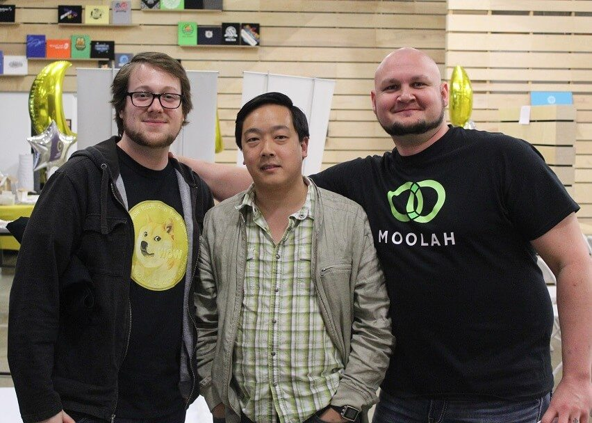 Jackson Palmer, Charlie Lee, and Thomas Hunt at Dogecon SF