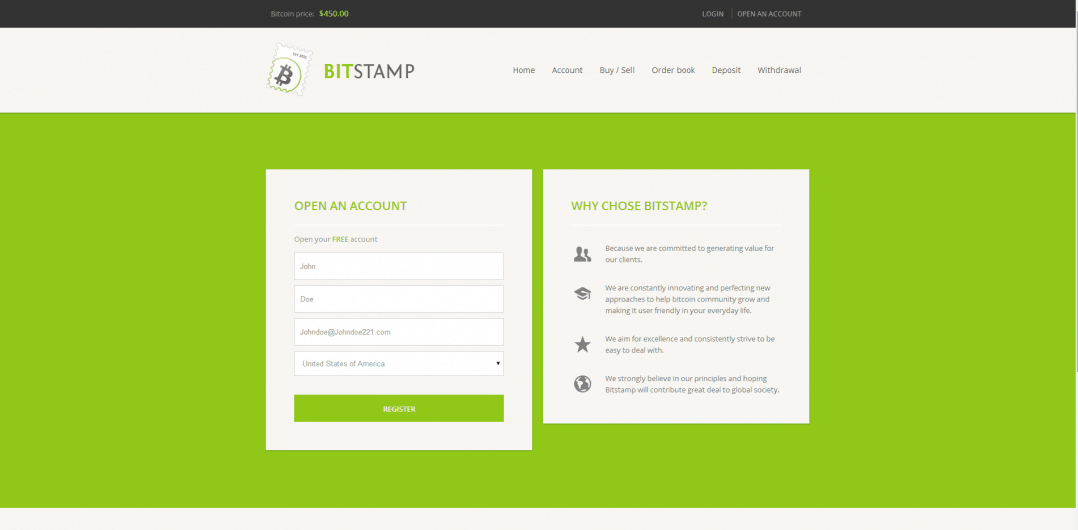 Bitstamp Account Creation
