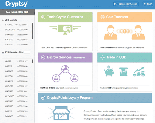 Screenshot of Cryptsy's homepage