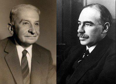 Ludwig von Mises (left) and John Maynard Keynes (right)