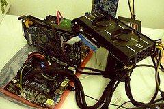 Bitcoin miner taken apart