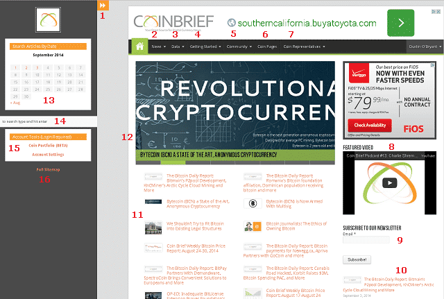 Screenshot of Coin Brief's Home Page with Numbers
