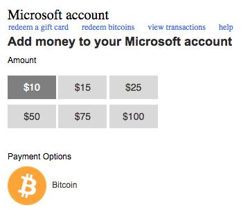 Funding Microsoft accounts with bitcoin