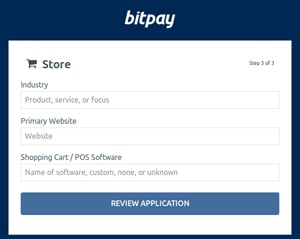 BitPay application step 3