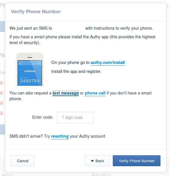 Como aceitar bitcoin com coinbase 99 bitcoins para verificar se um nmero de telefone v para settings phone numbers sobre o coinbase interface e clique em verificar um telefone ccuart Images