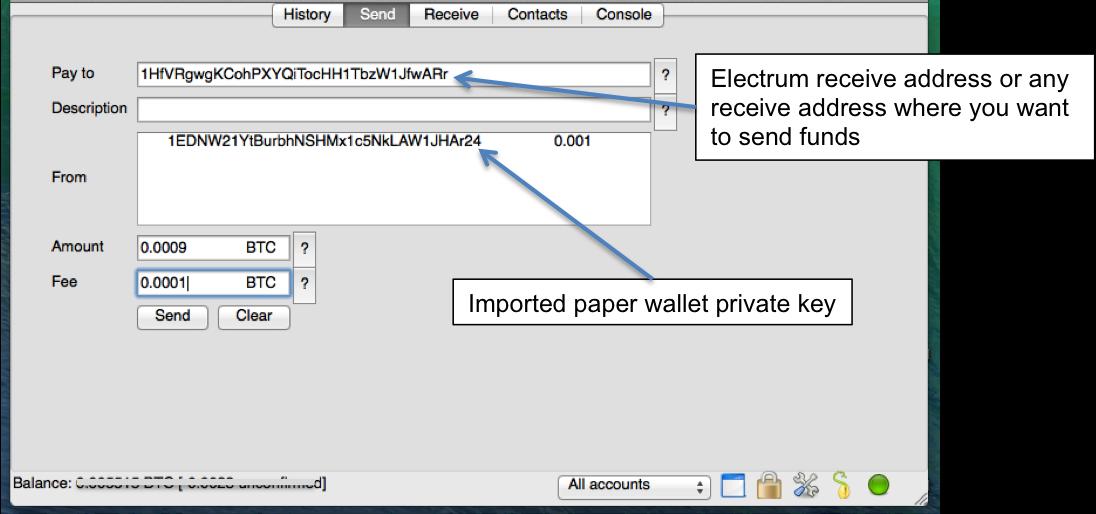 comment envoyer des bitcoins un portefeuille papier