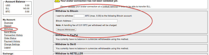 Withdraw Bitcoins from VirWox to BTC-E