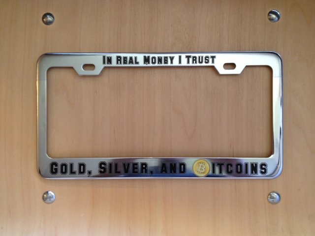 ideas for a license plate frame text? : bitcoin