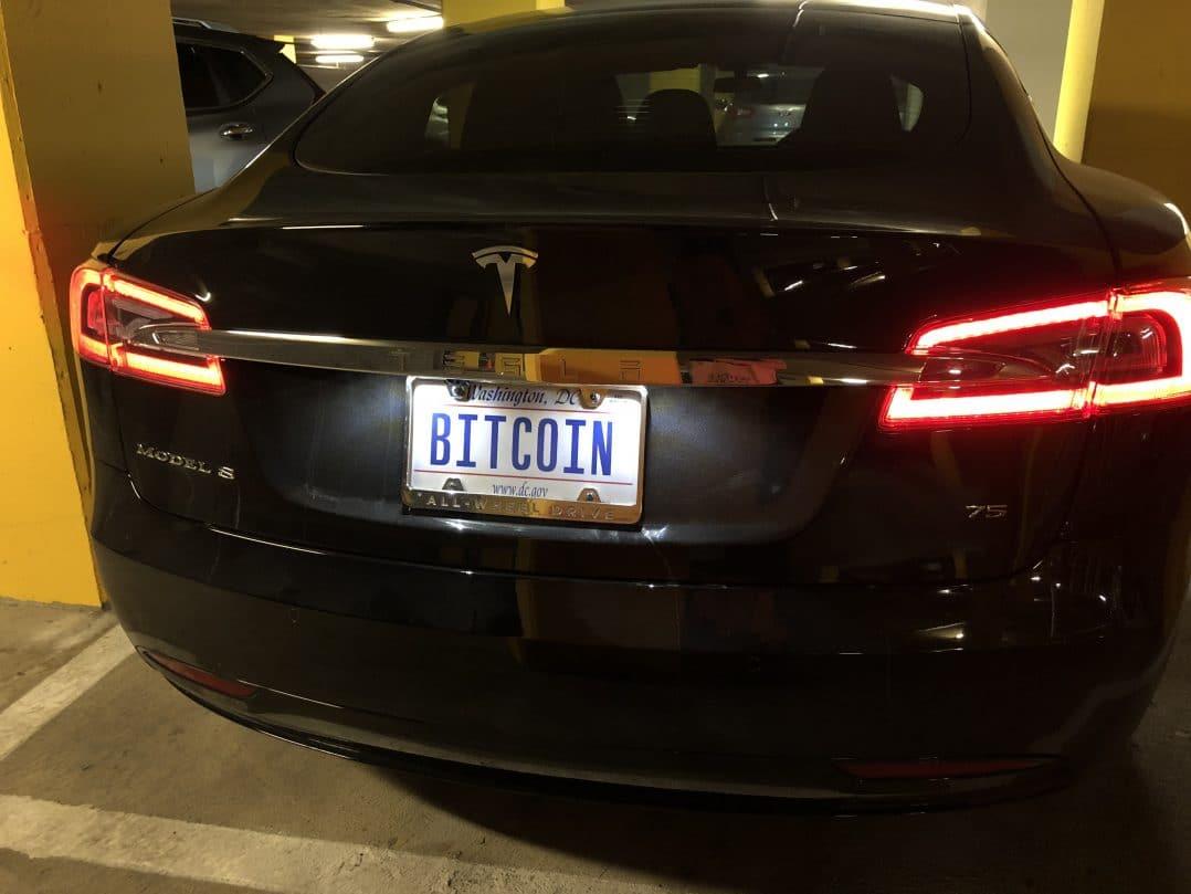 Tesla bitcoin plate