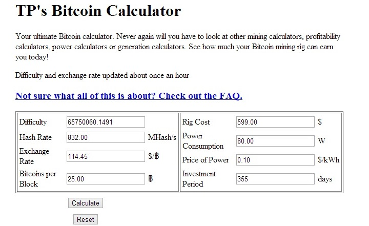 Discover How Much Your Bitcoin Mining Rig Can Earn You With This Calculator The Difficulty And Exchange Rate Information Are Updated About Once An Hour