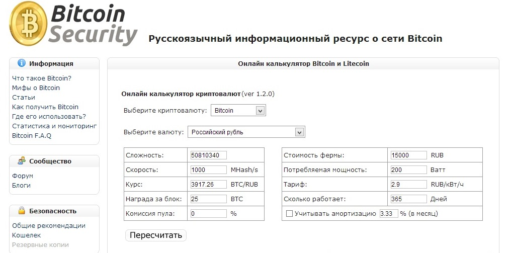 A Complete Bitcoin Calculator But Only For The Russian Users