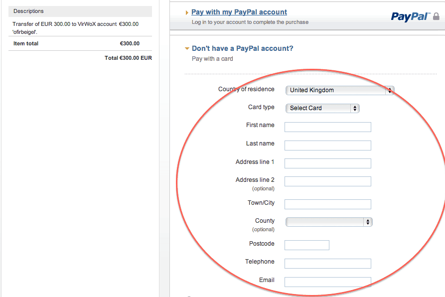 Enter personal details at Paypal