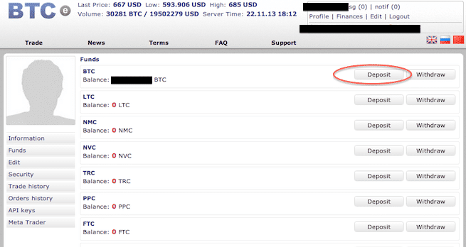 Deposit Bitcoins in BTC-E