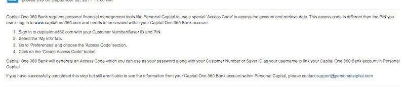 Capital one access code