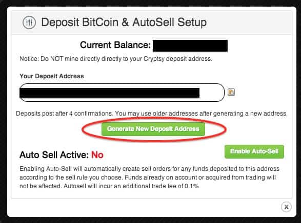 Generate deposit address cryptsy