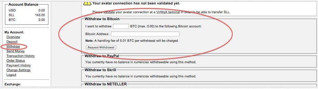 withdraw bitcoins