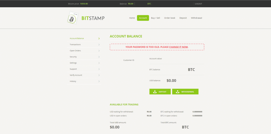 Bitstamp Bitcoin Account Balance