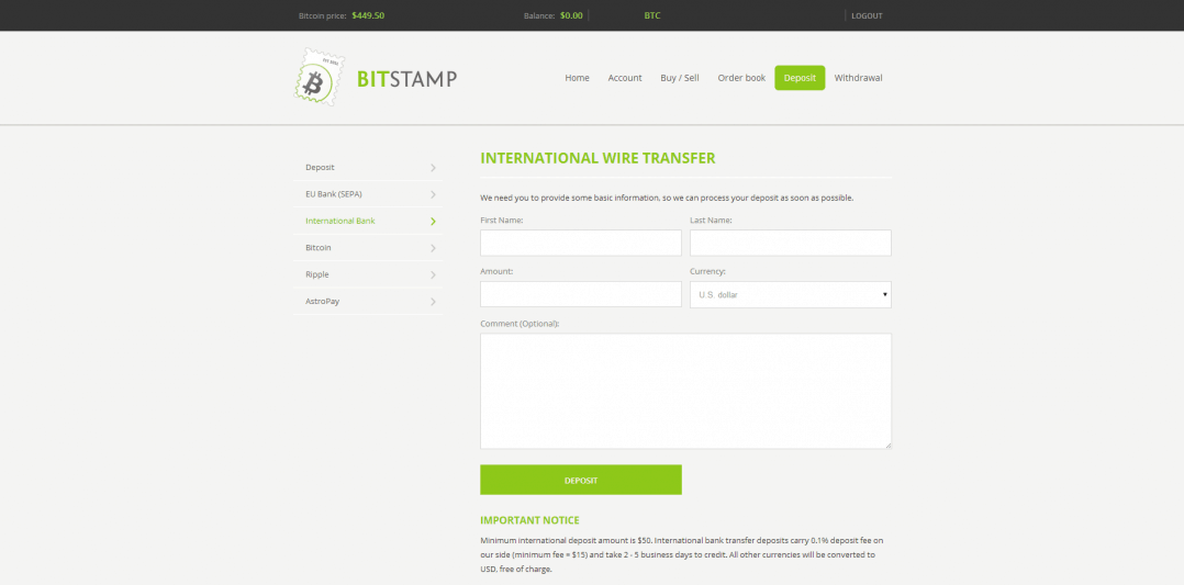 Bitstamp International Wire