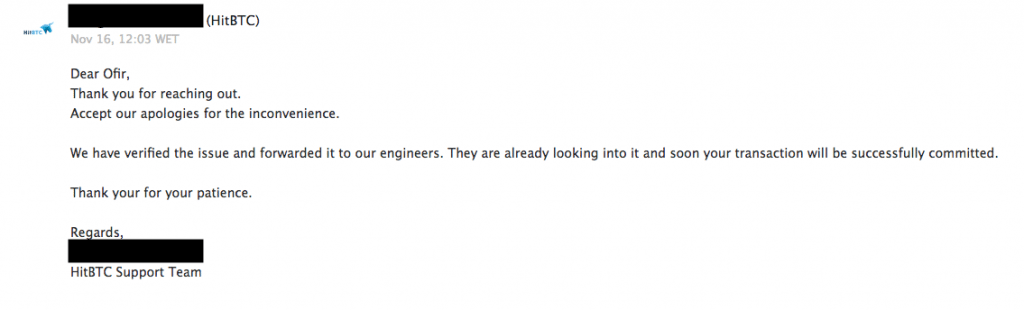 HitBTC reply