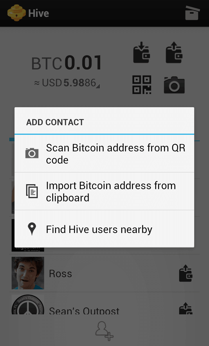 Find Hive Bitcoin wallet users nearby