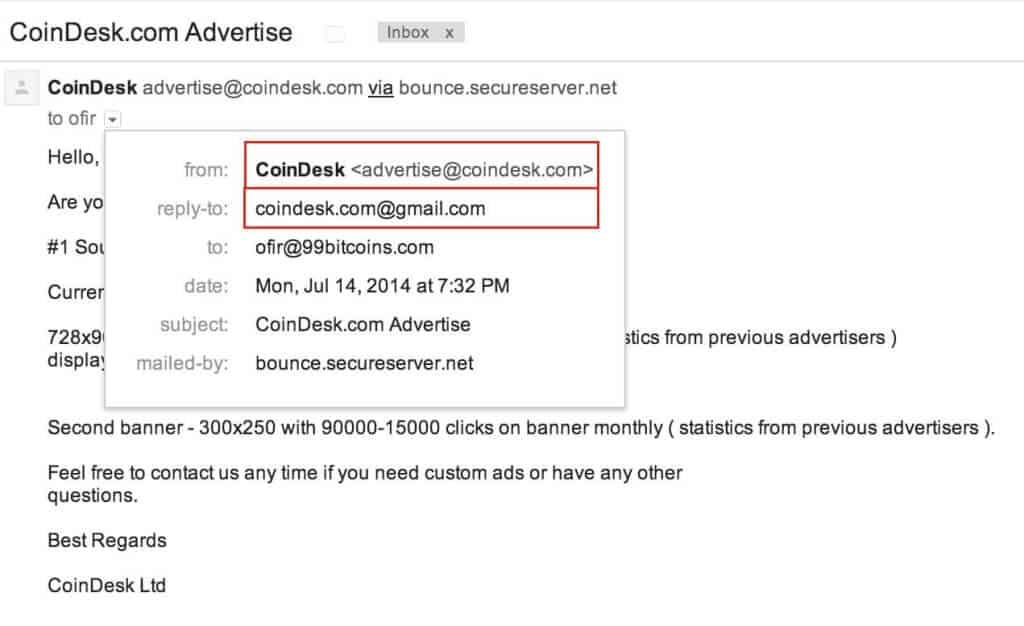 coindesk phishing email no.2