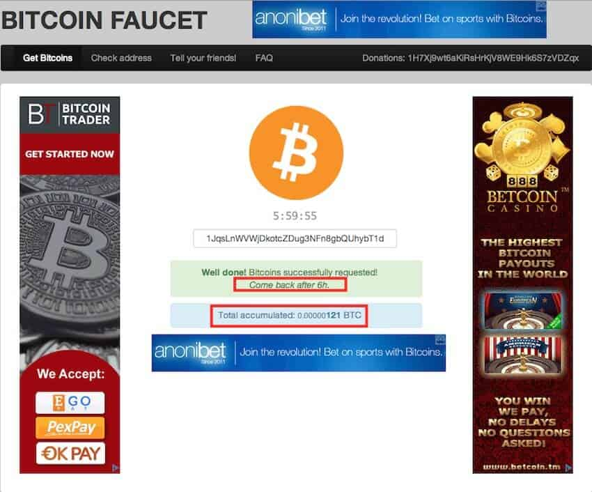 Bitcoin faucet waiting time