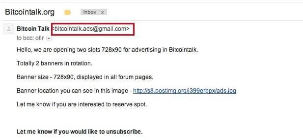 BitcoinTalk phishing email