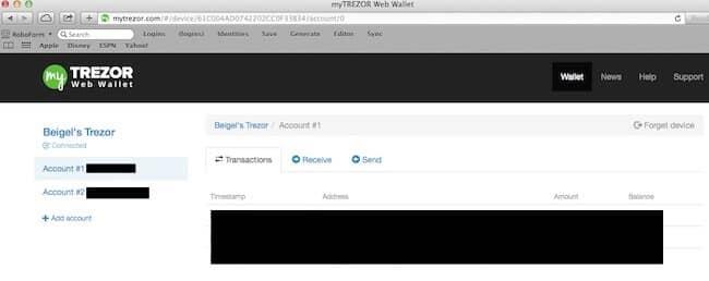 Trezor web interfacce