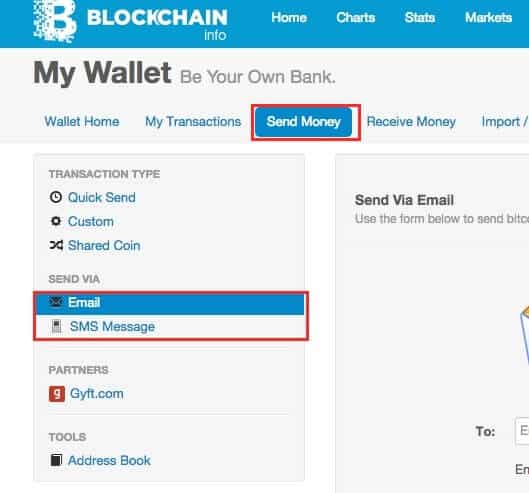 send bitcoin with email sms