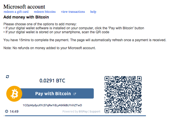 Funding a Microsoft account with bitcoin via BitPay
