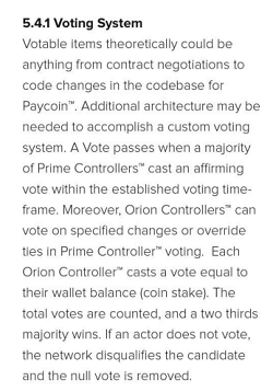 The Voting System for Paycoin