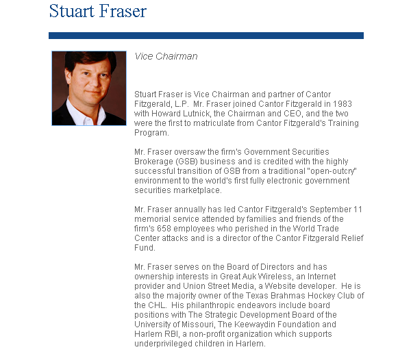 "Stuart Fraser's ""About"" Page on Cantor Fitzgerald's Website"