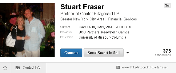Top Clip of Stuart Fraser's LinkedIn Profile, Showing GAW LABS