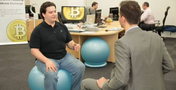 Mark Karpeles on a Blue Ball
