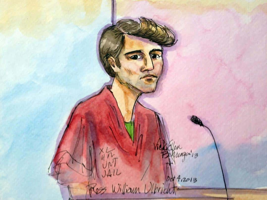 "FILE- In this Oct. 4, 2013 file photo, an artist rendering showing Ross William Ulbricht during an appearance at Federal Court in San Francisco is shown. Authorities say that Ulbricht had spent most of three years ""evading law enforcement, living a double life"" while operating an underground website known as Silk Road, a black-market bazaar for cocaine, heroin and other drugs, while portraying himself as an Internet trailblazer. On Thursday, Nov. 21, 2013,  a federal judge ordered Ulbricht held without bail during a court appearence in New York..  (AP Photo/Vicki Behringer, File)"