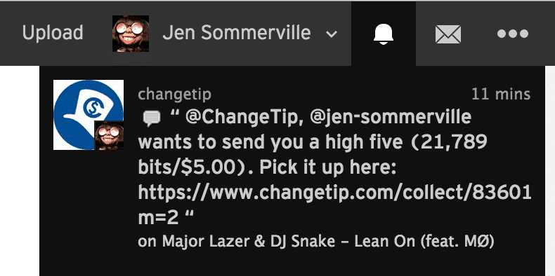 Soundcloud changetip