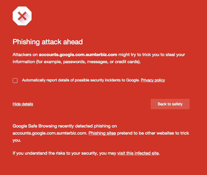 phishing warning chrome