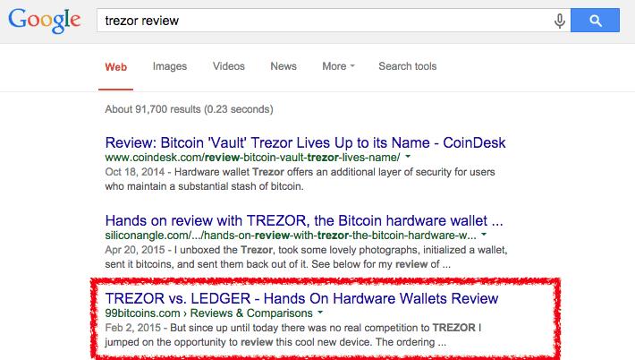 trezor google results