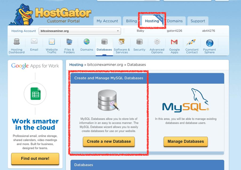 bluehost database