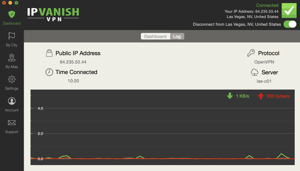 IPVanish dashboard