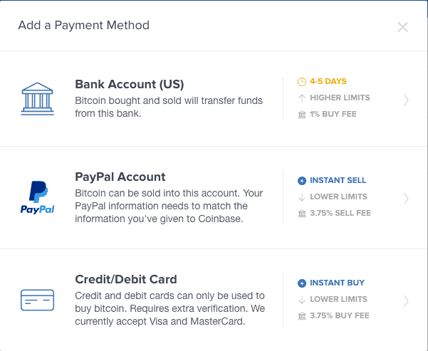 Coinbase credit / debit option