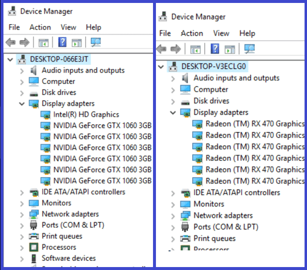 GPUs in Device Manager