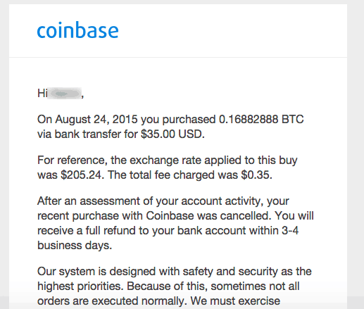 About Coinbase Order Cancelled