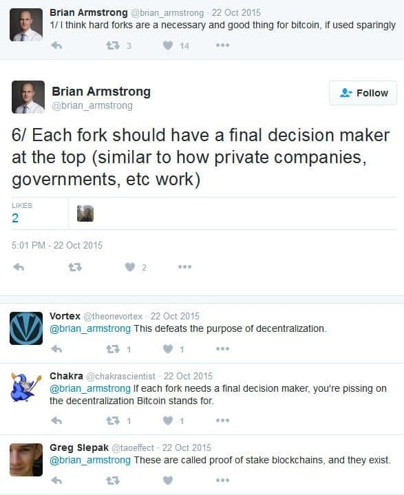 Coinbase tweets