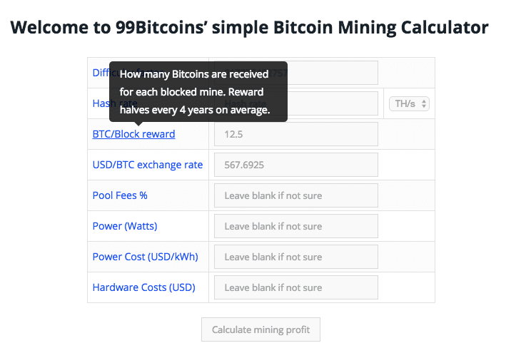 Bitcoin mining calculator plugin