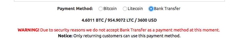 Bank transfer warning