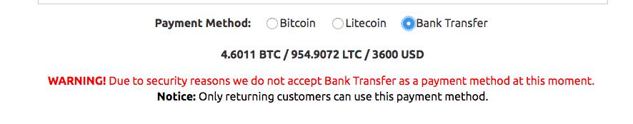Bank transfer warning