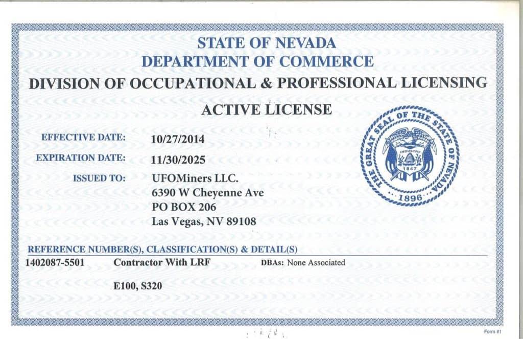 UFO Miners certificate