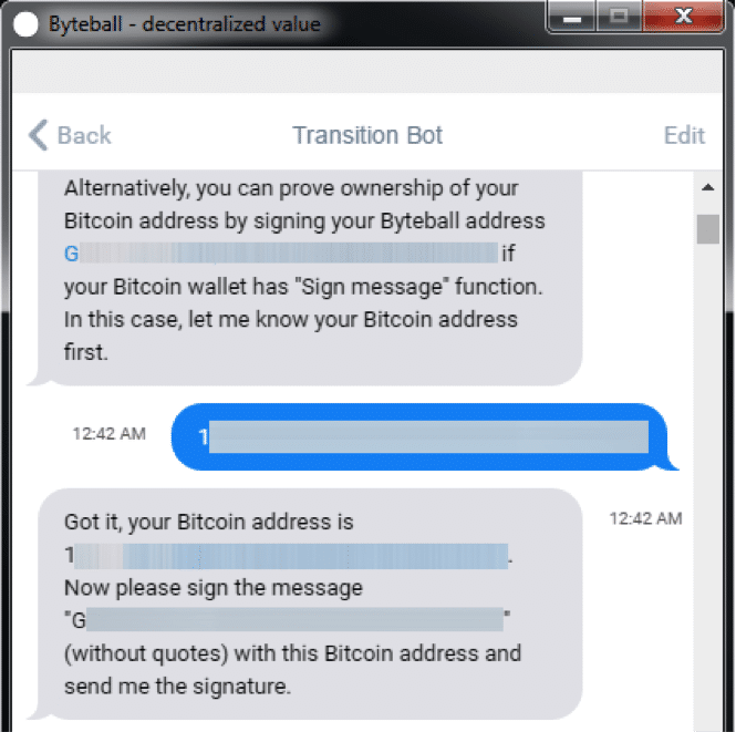 The Byteball Bot Asks For A Bitcoin Address Give It One Which Contains BTC Will Then Ask You To Sign Your Auto Generated