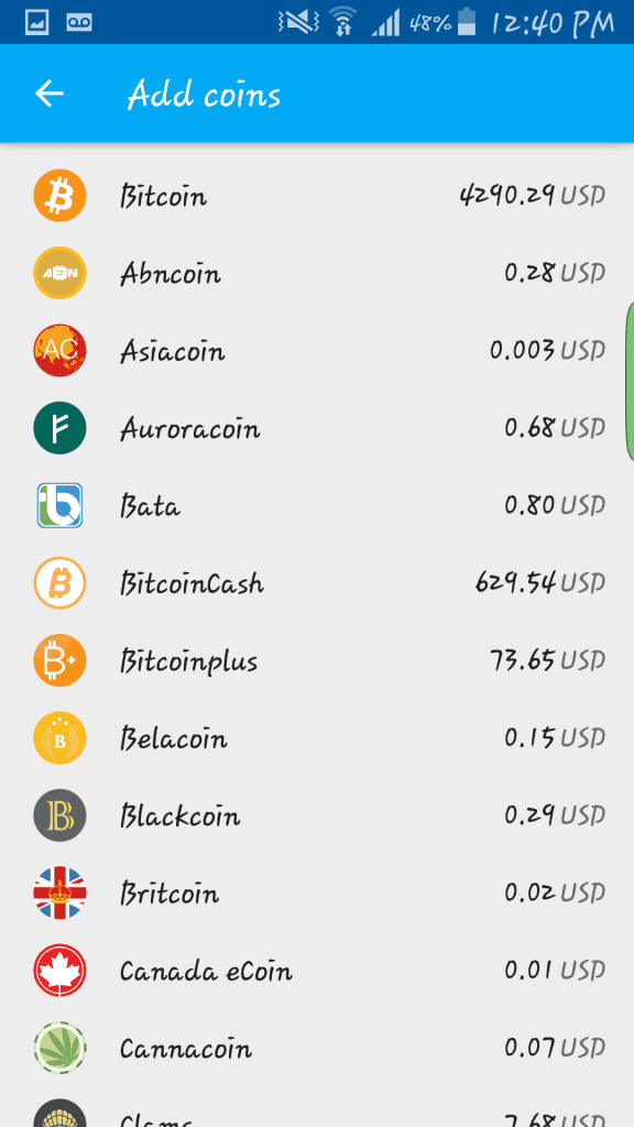 Coinomi coin selection